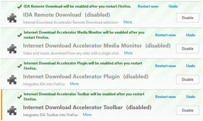 forefox how to get a list of installed addons